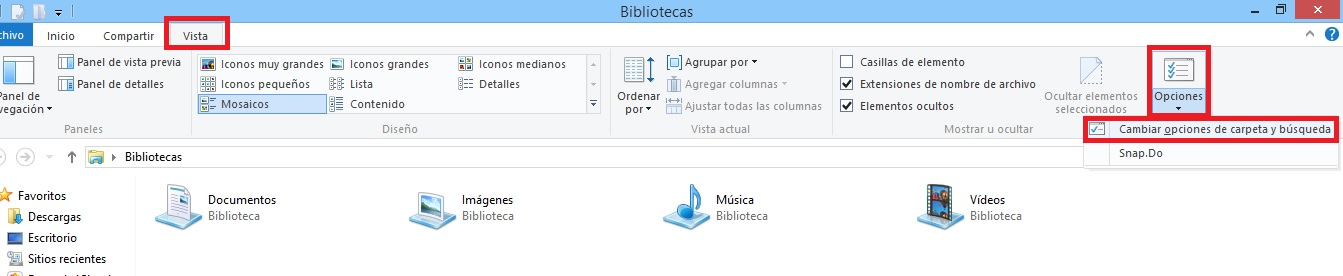 opciones de carpeta en windows