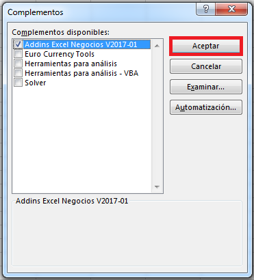 complemento excel add in